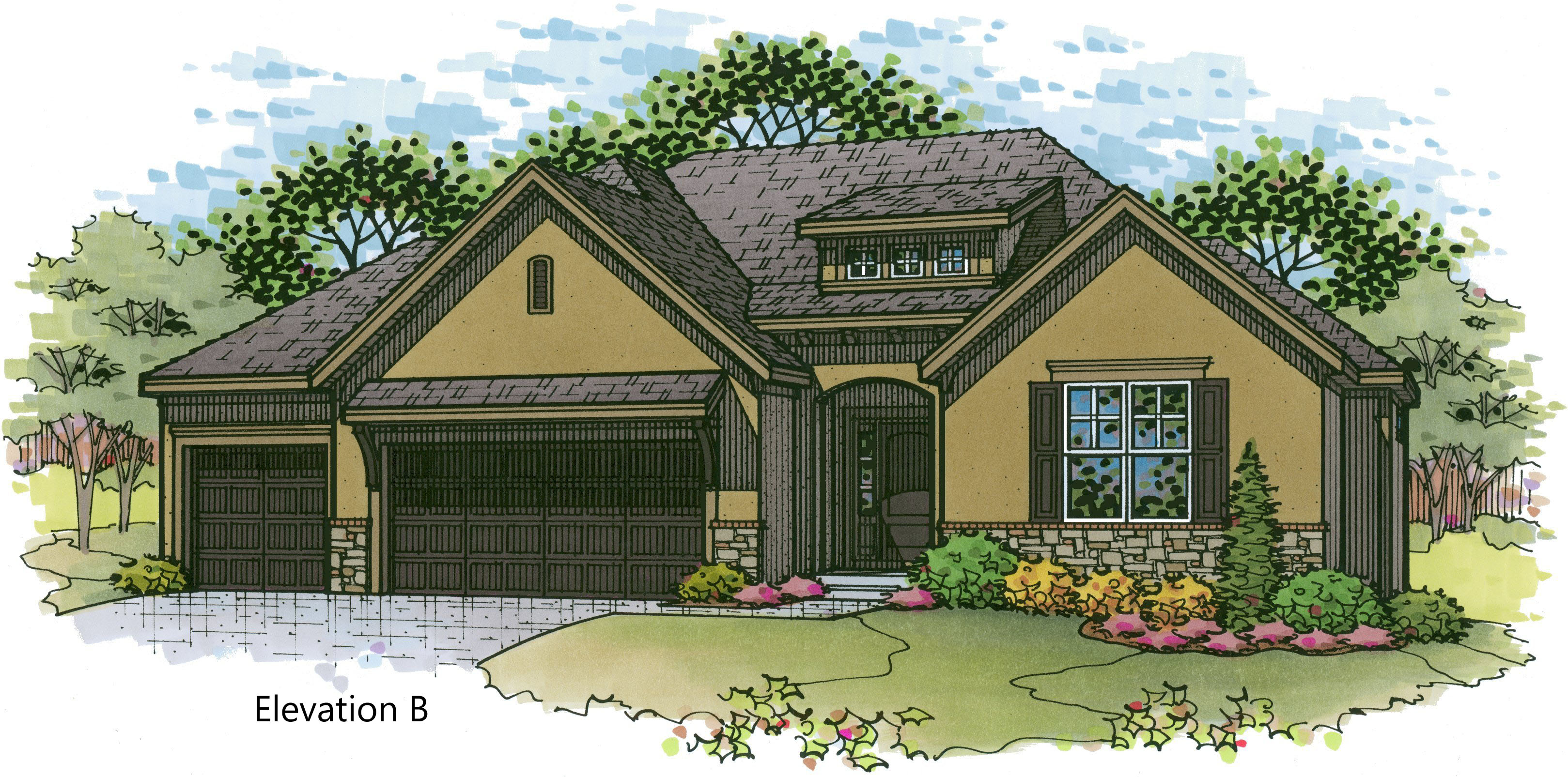 Aspen elev. B color rendering