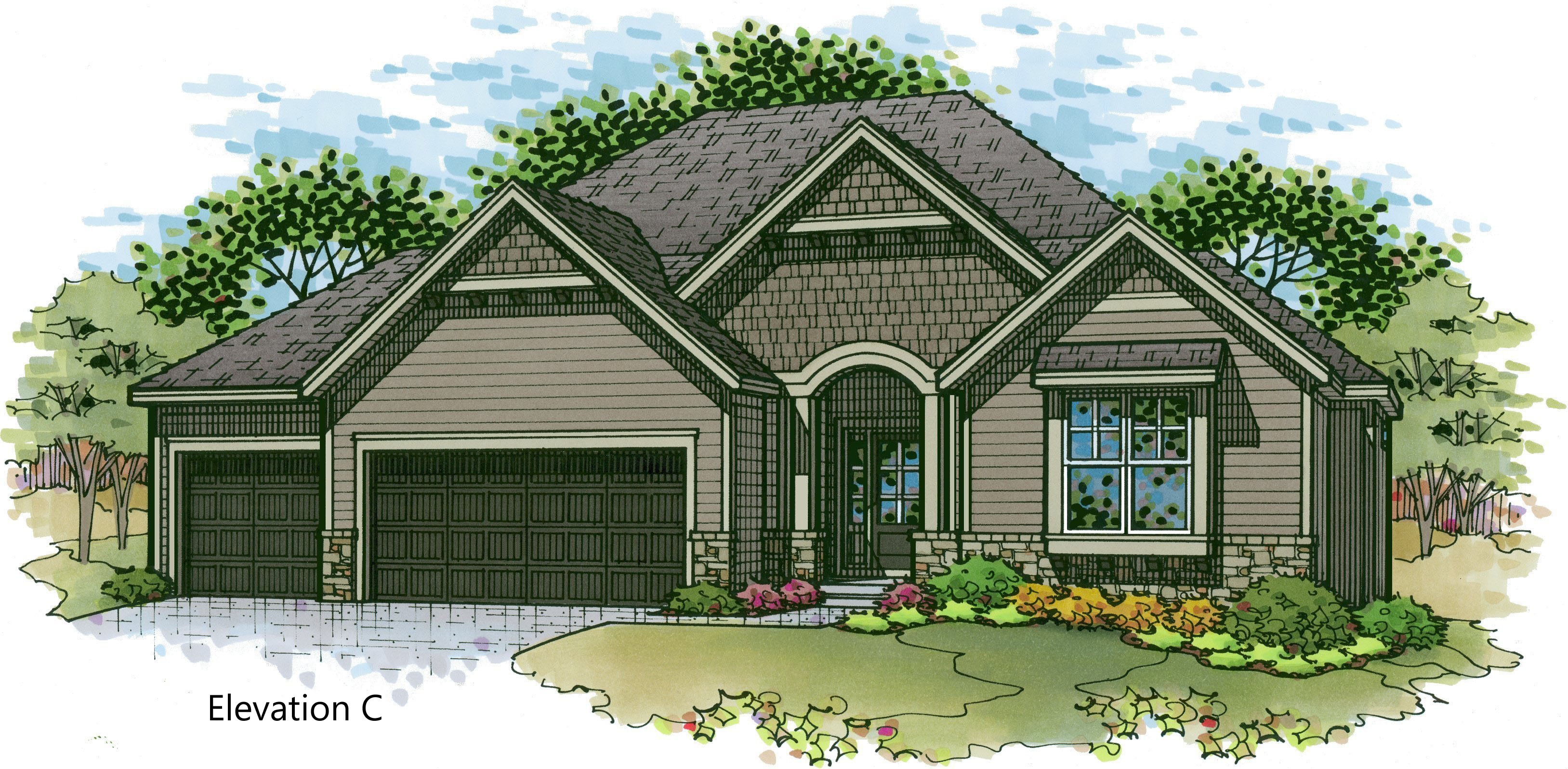 Aspen elev. C color rendering
