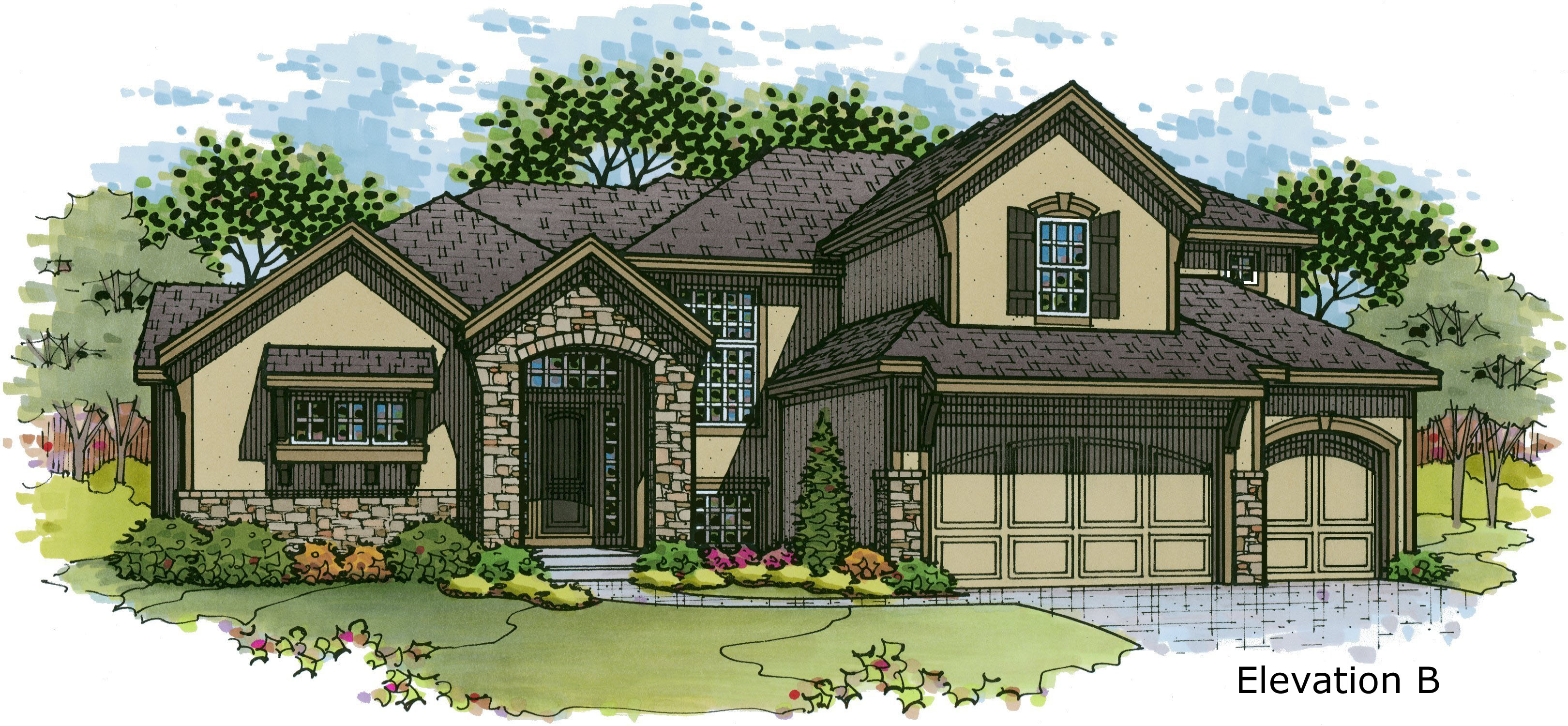 Cimarron elevation B color rendering