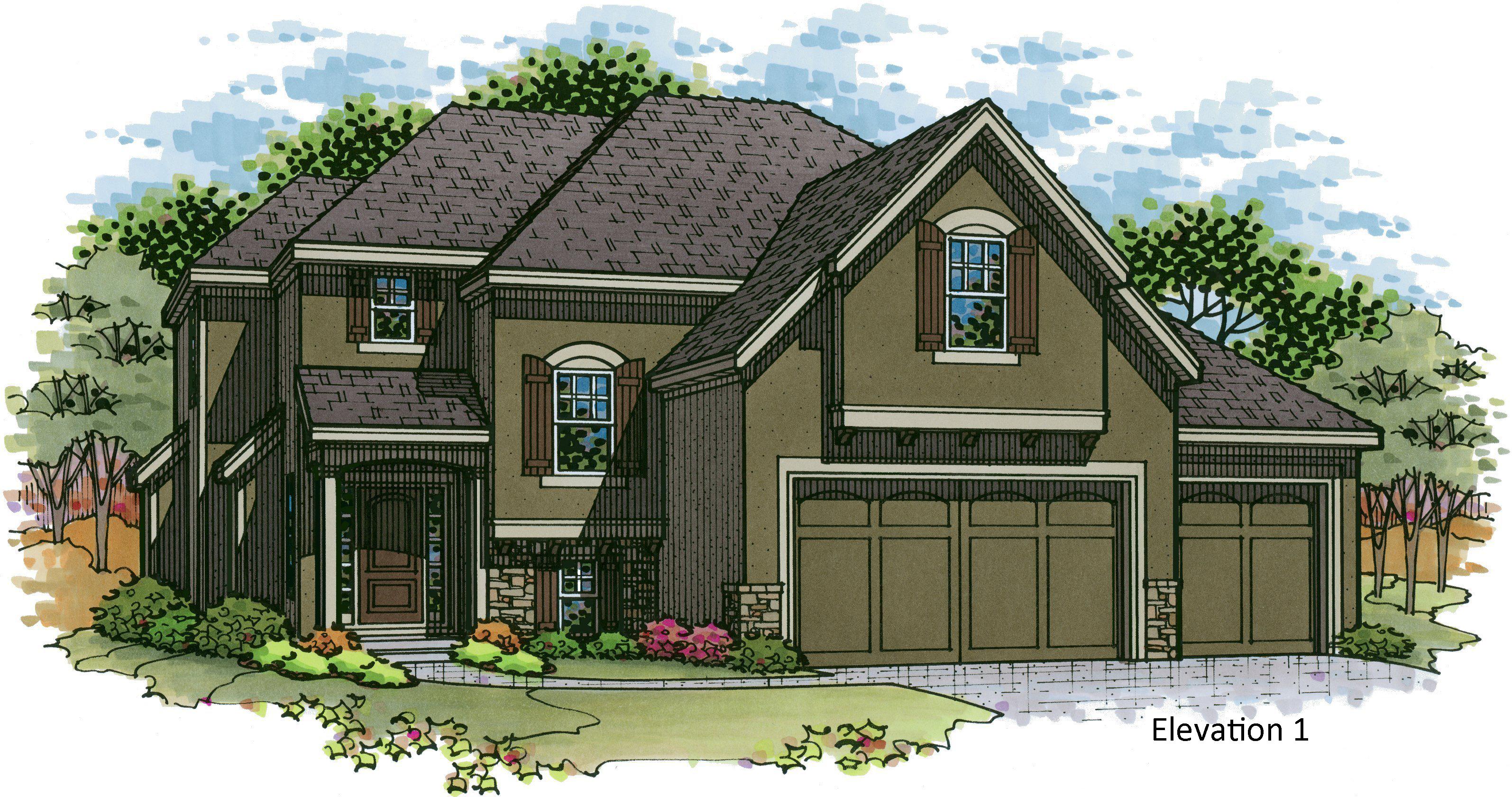 Destin EX elevation 1 color rendering
