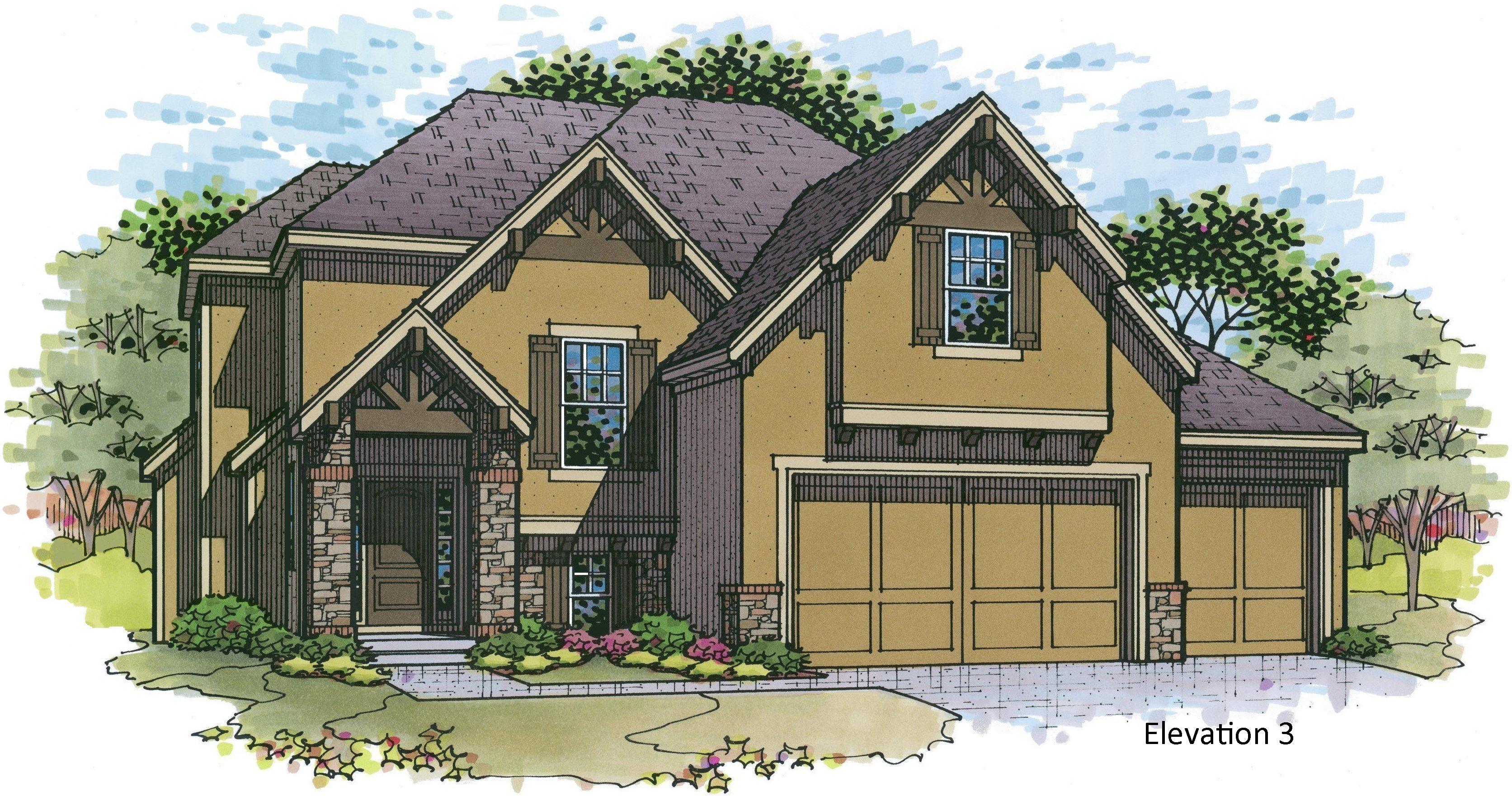 Destin EX elevation 3 color rendering