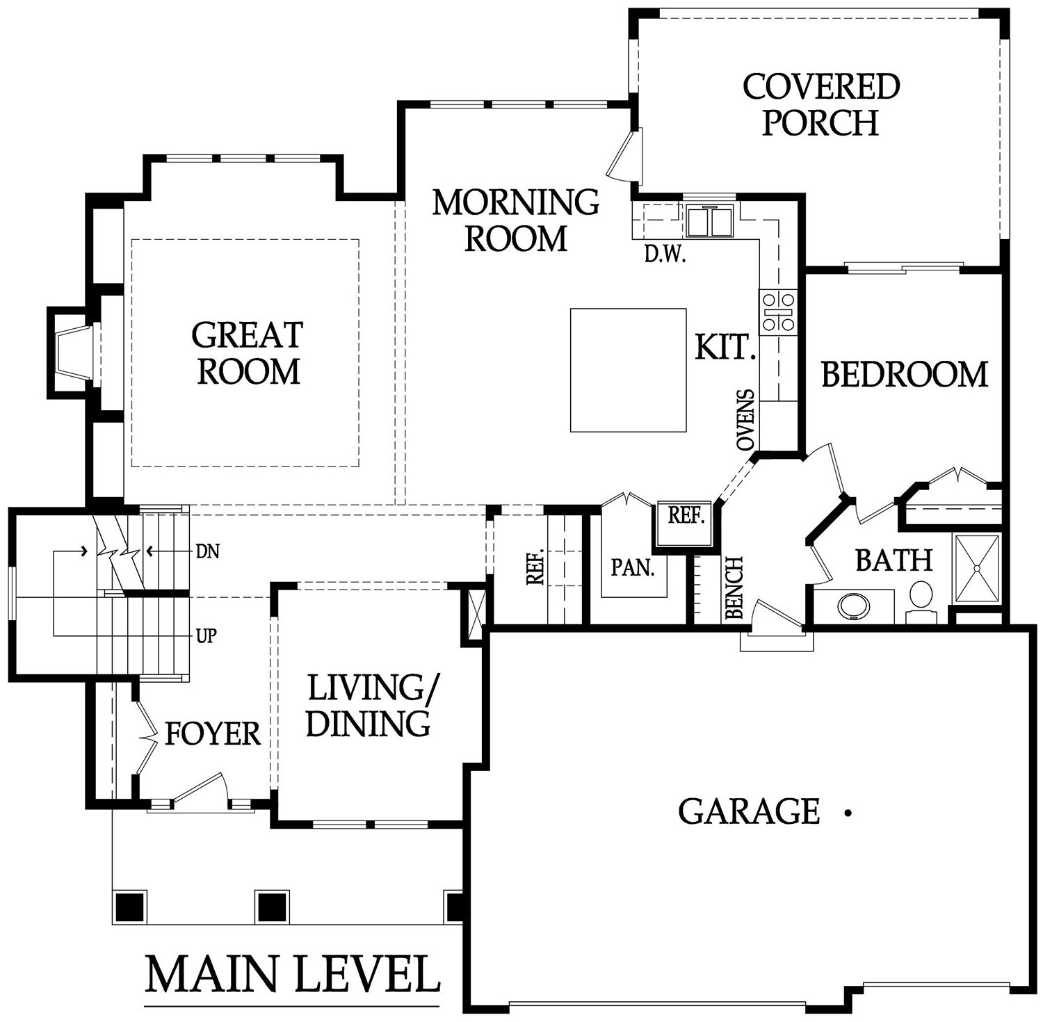 Lancaster III main level plan rendering