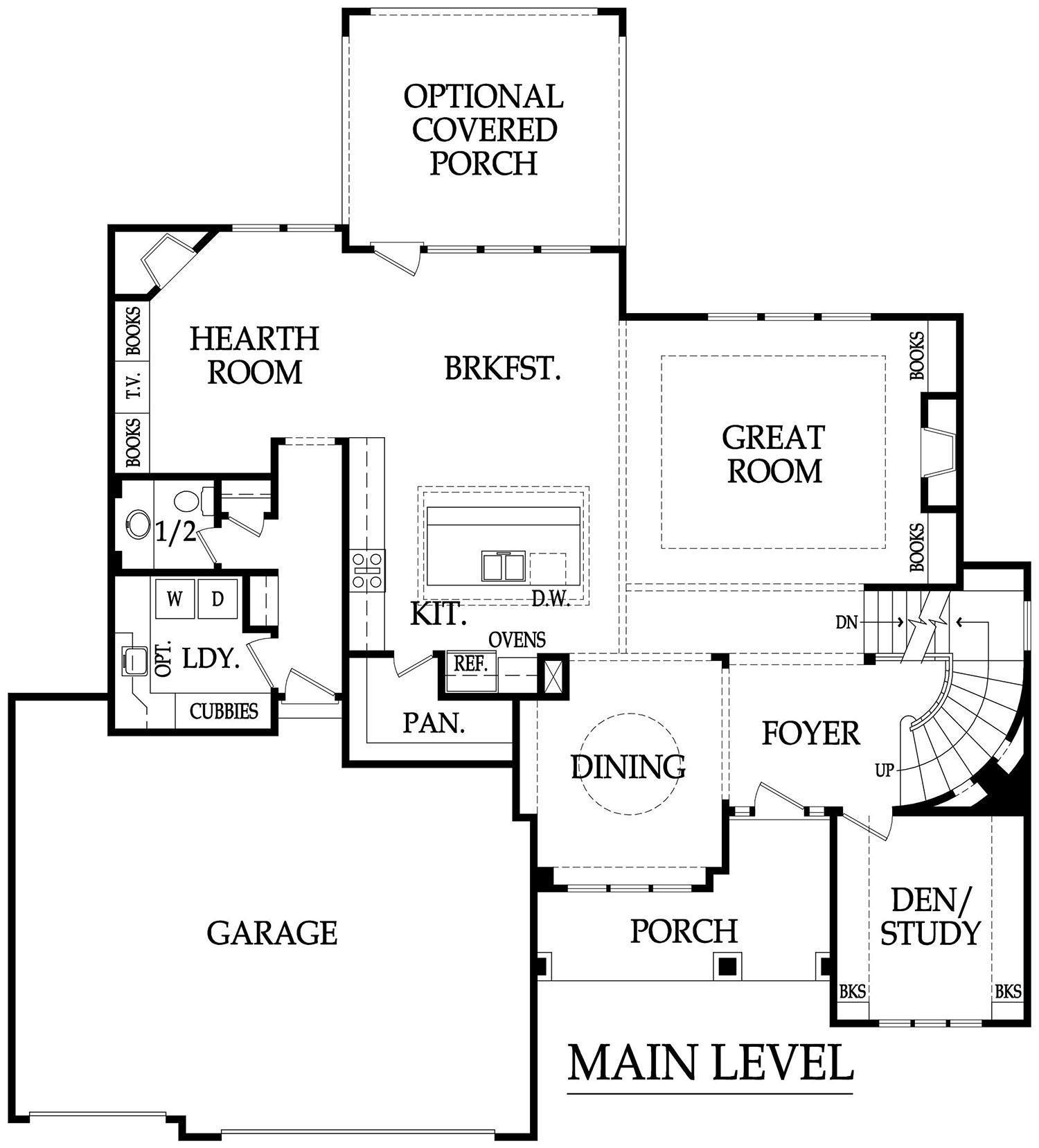Larsen EX main level plan rendering