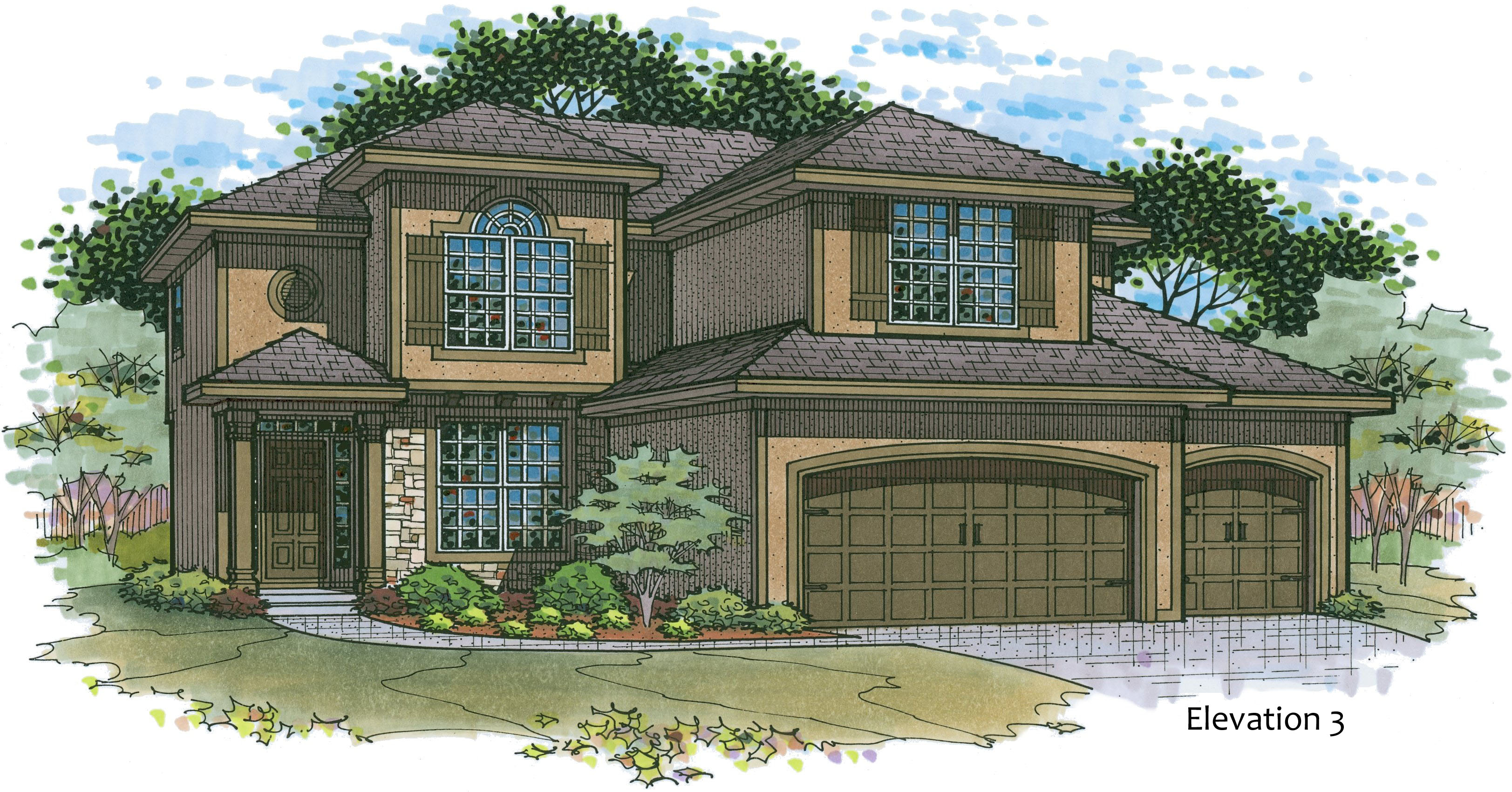 Madison elevation 3 color rendering
