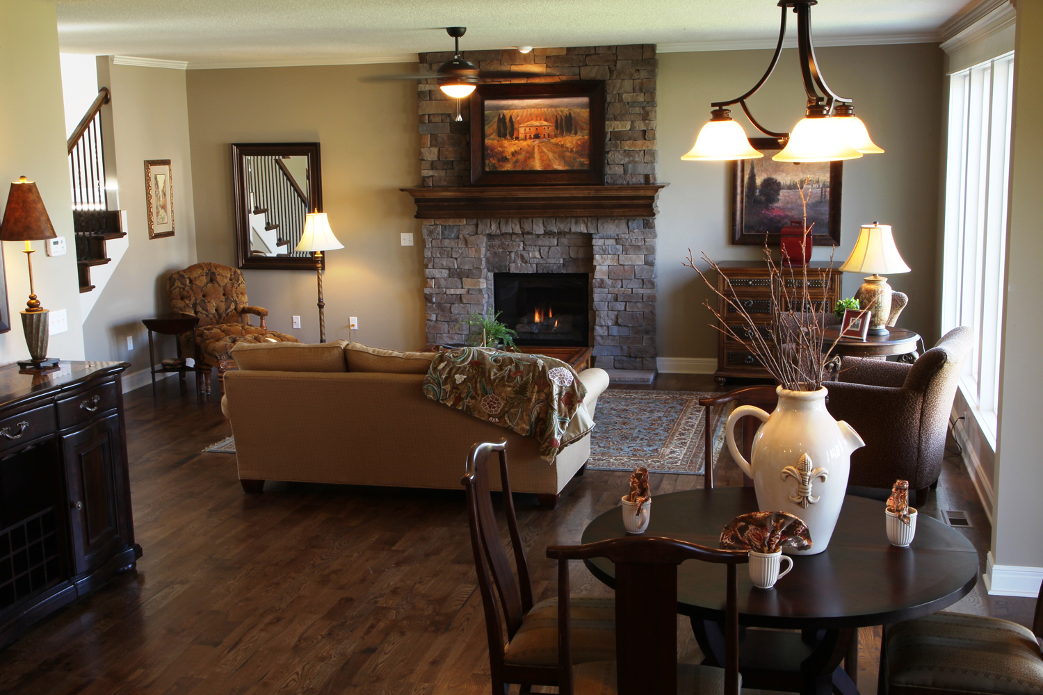 Monte Carlo great room with stone fireplace