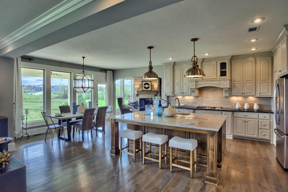 Larsen EX kitchen island and breakfast area